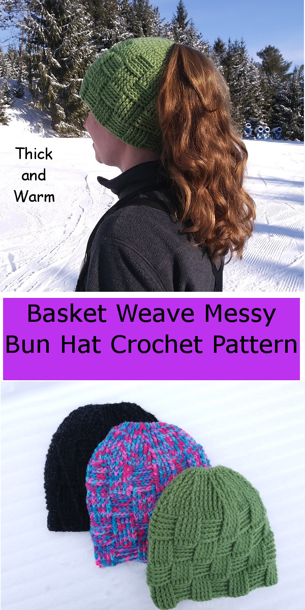 Basket Weave Ponytail Hat Pattern Caitlins Contagious Creations