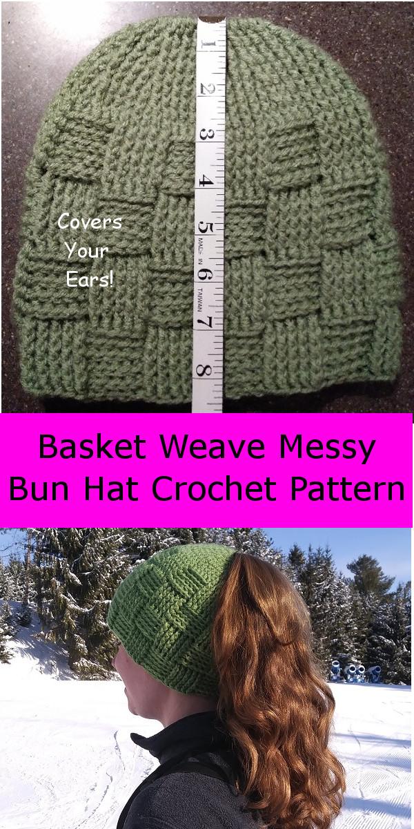9888abc1f80 ... basketweave-ponytail-hat-beanie-crochet-pattern  fun-easy-free-crochet-pattern-messy-bun-hat-
