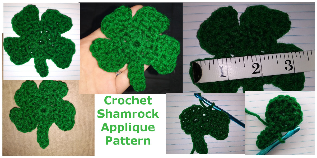 Crochet Shamrock Applique Pattern Caitlins Contagious Creations