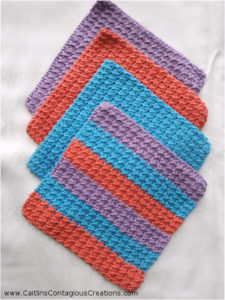 Crunch Stitch Crochet Dishcloth Pattern Caitlins Contagious Creations