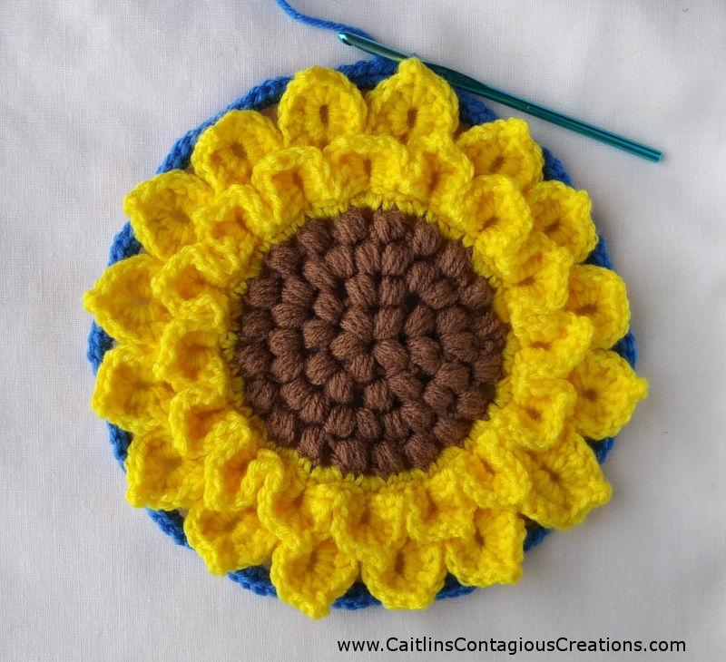 Crocodile Stitch Sunflower Square Crochet Pattern Caitlins