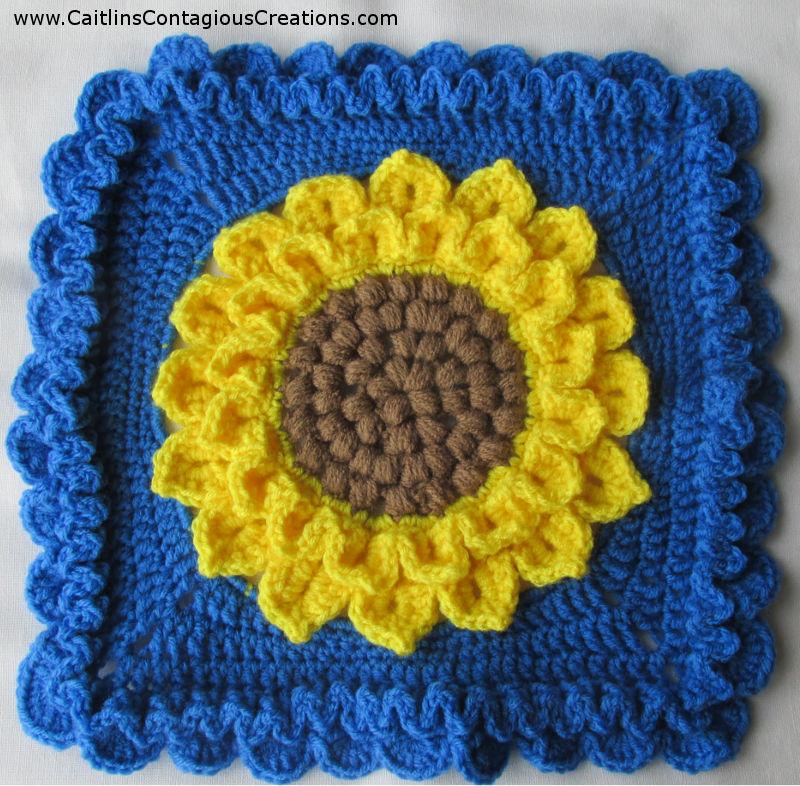 Crocodile Stitch Sunflower Square Crochet Pattern Caitlin S