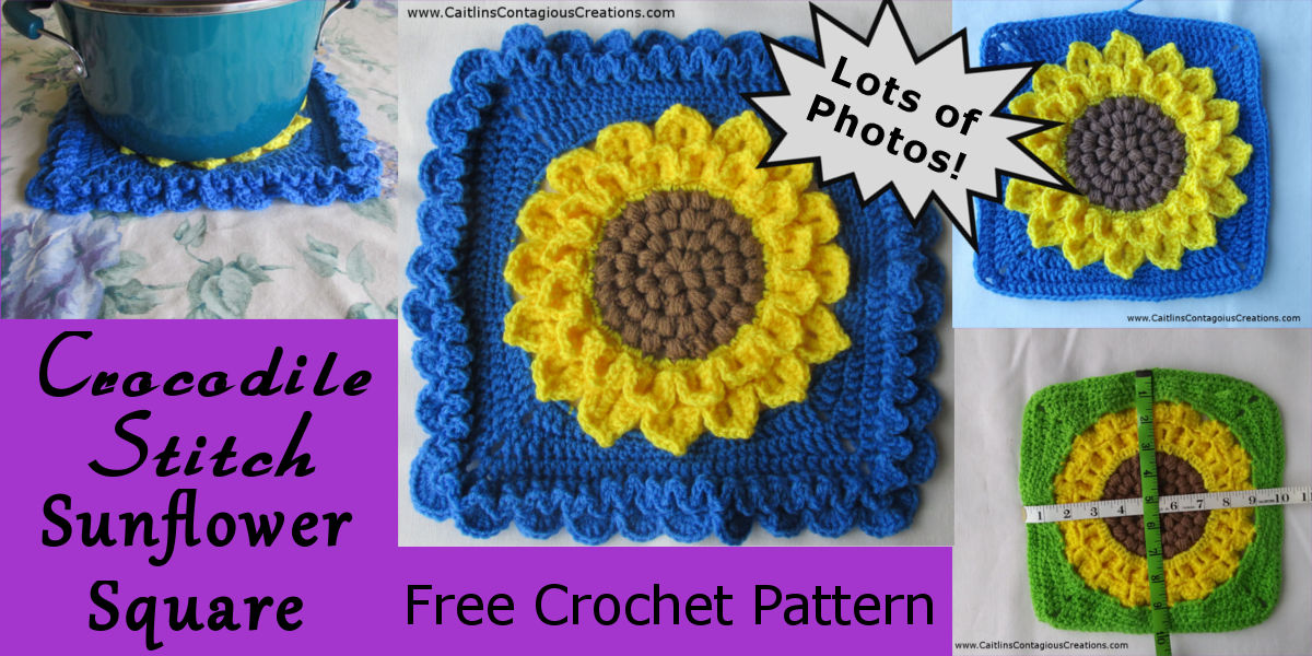 Crocodile Stitch Sunflower Square Crochet Pattern Caitlins