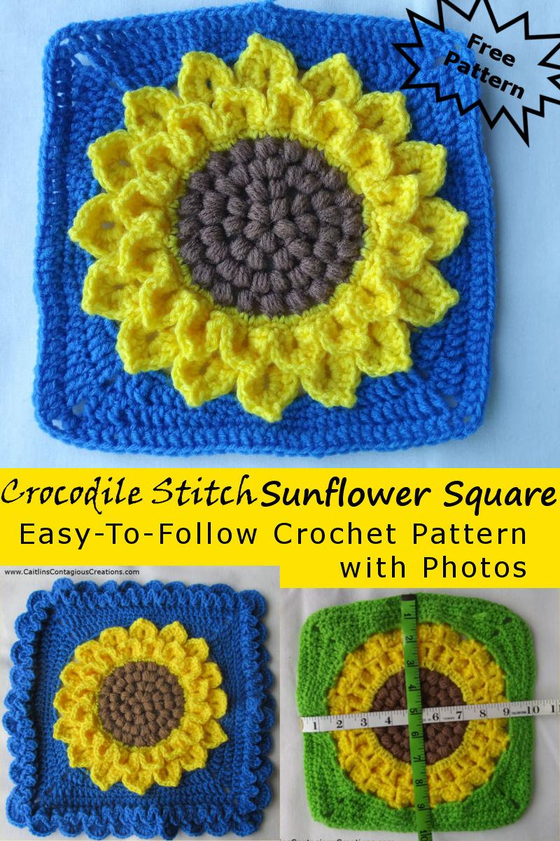 Crocodile Stitch Sunflower Square Crochet Pattern