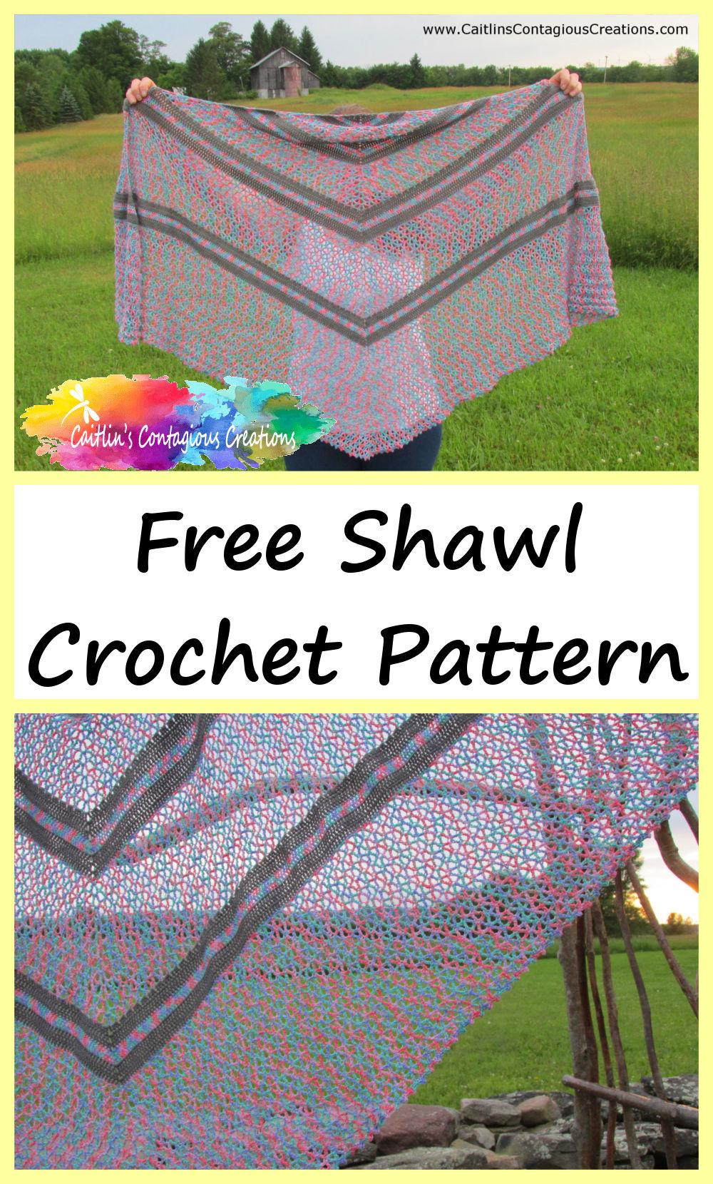 Summer Wildflowers Triangle Shawl Crochet Pattern