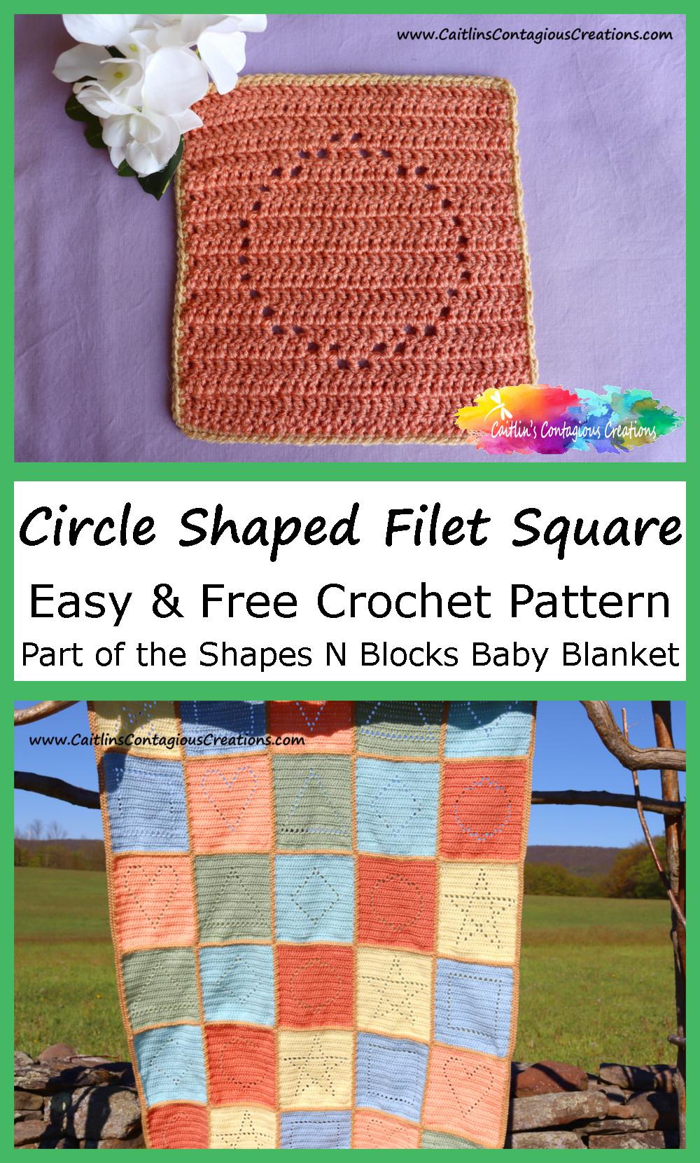 Image à épingler en forme de cercle Filet Square Crochet Pattern avec photo de couverture de bébé complétée incluse