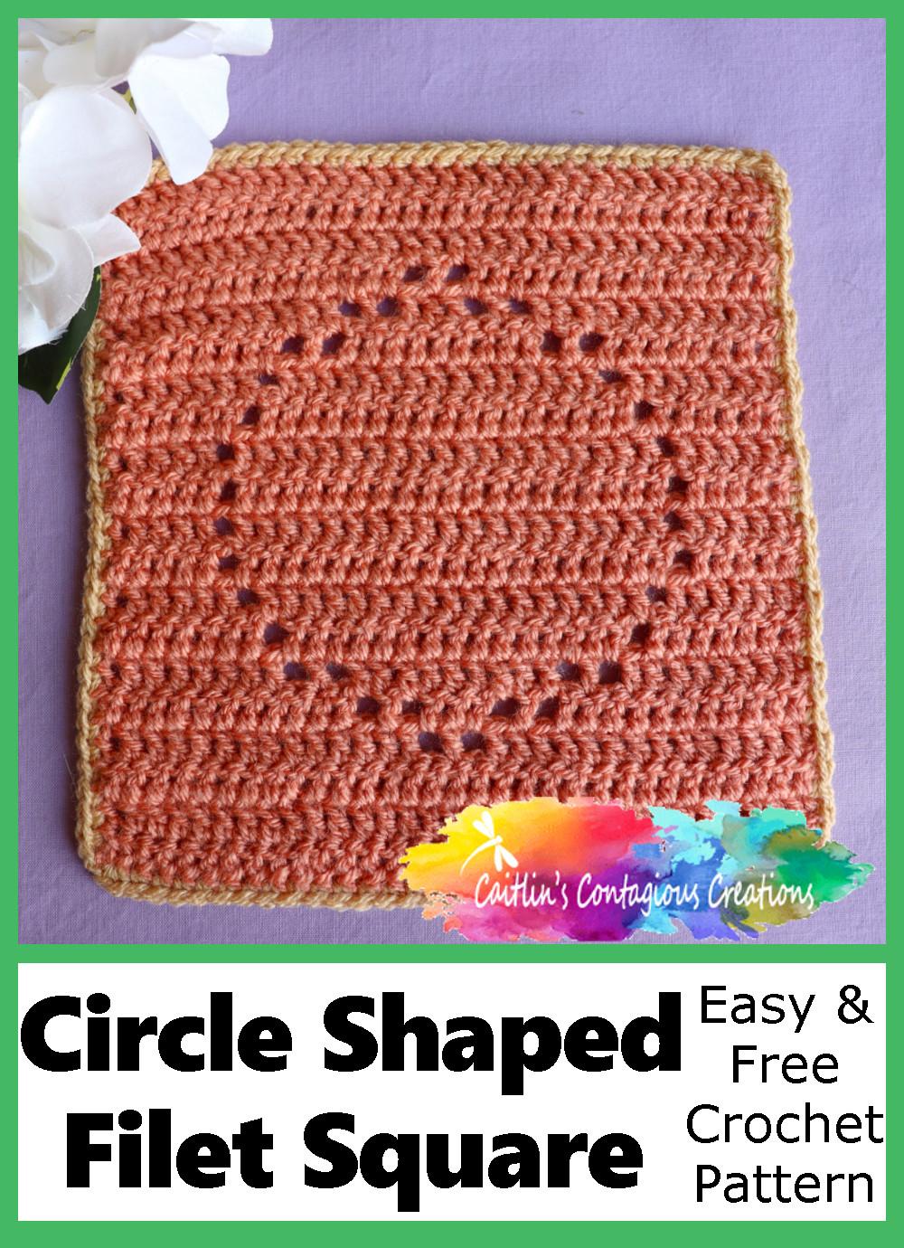 Motif de crochet gratuit et facile en forme de carré de filet en forme de cercle