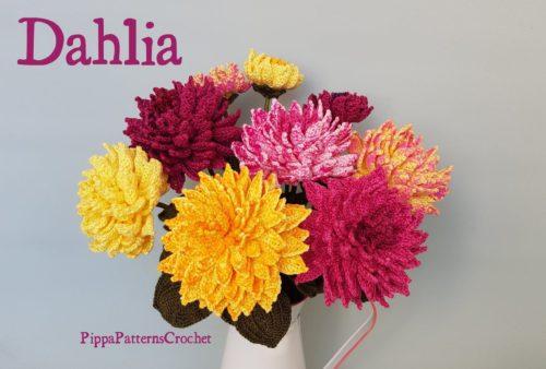 Motif de crochet de fleurs réaliste pour un dahlia