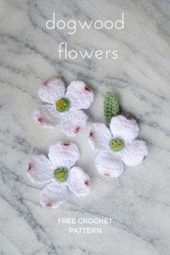 Exemple de motif de crochet de fleur réaliste de cornouiller