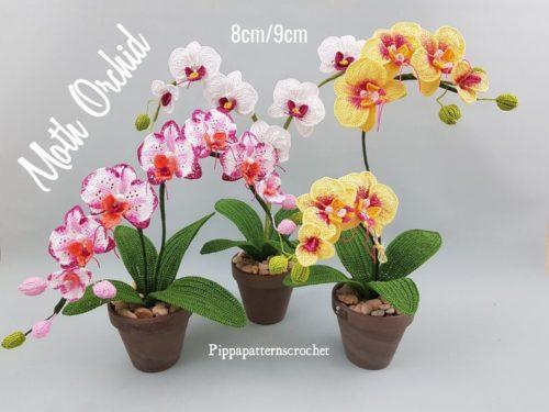 Modèle de crochet fleur réaliste orchidée papillon
