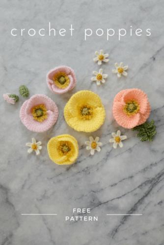 Échantillon de motif de crochet de fleur réaliste de pavot
