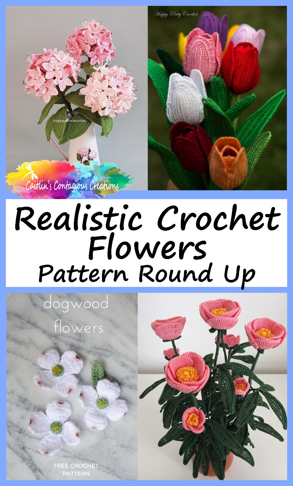 Fleur réaliste Crochet motif arrondir Pin Image 1 Rhododendron tulipe cornouiller pivoine fleurs