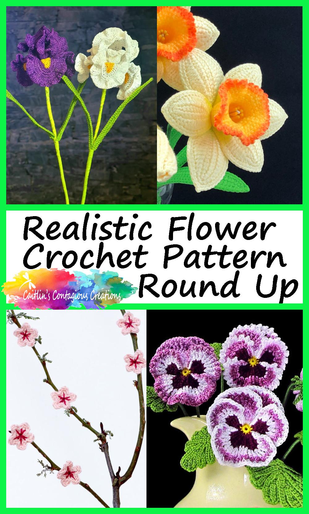 Collection de motifs au crochet de fleurs réalistes Pin Image 2 Iris jonquille fleurs de cerisier et photos de fleurs de pensée