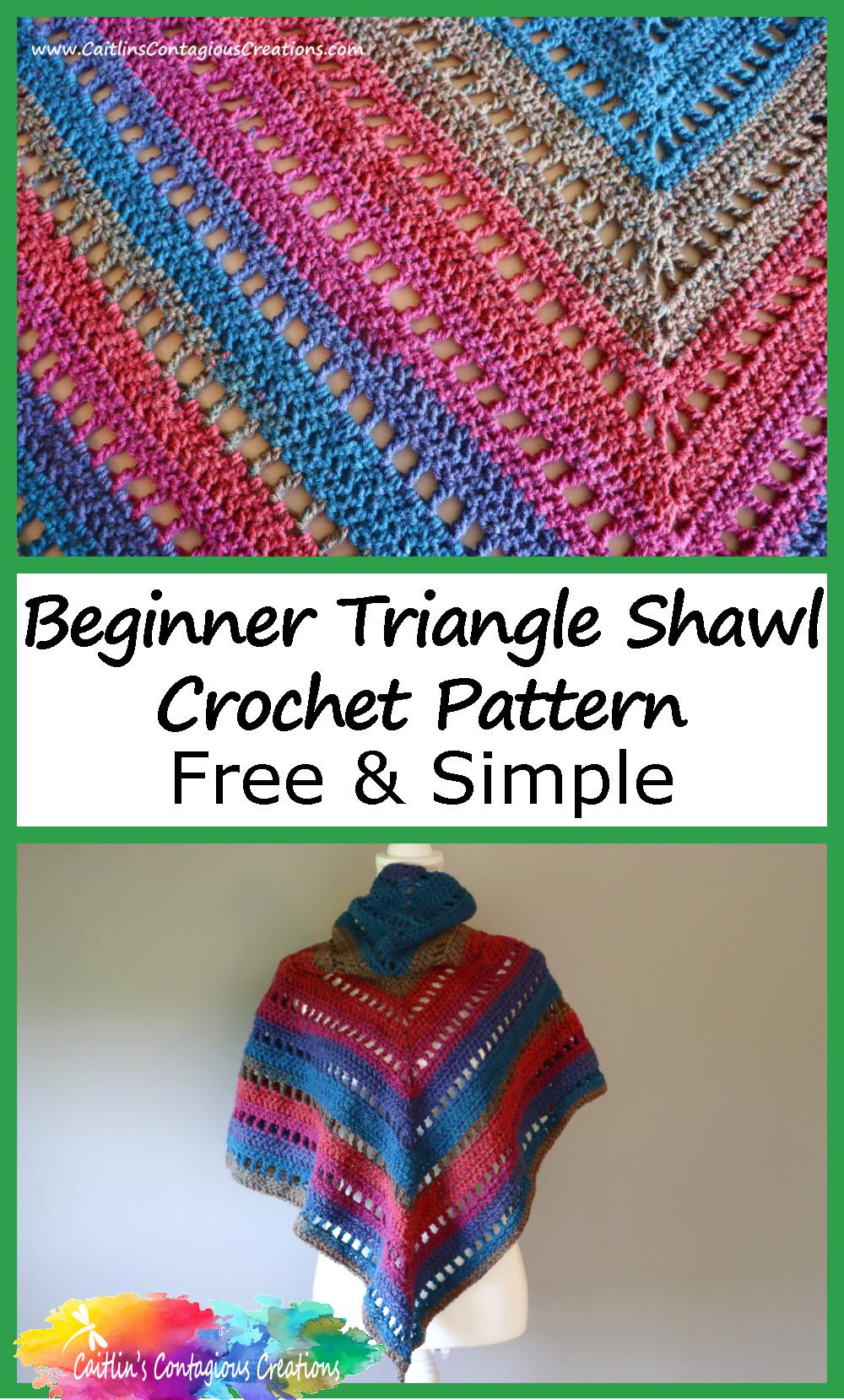 Pinterest image 03 pour Débutant Triangle Châle Crochet Pattern