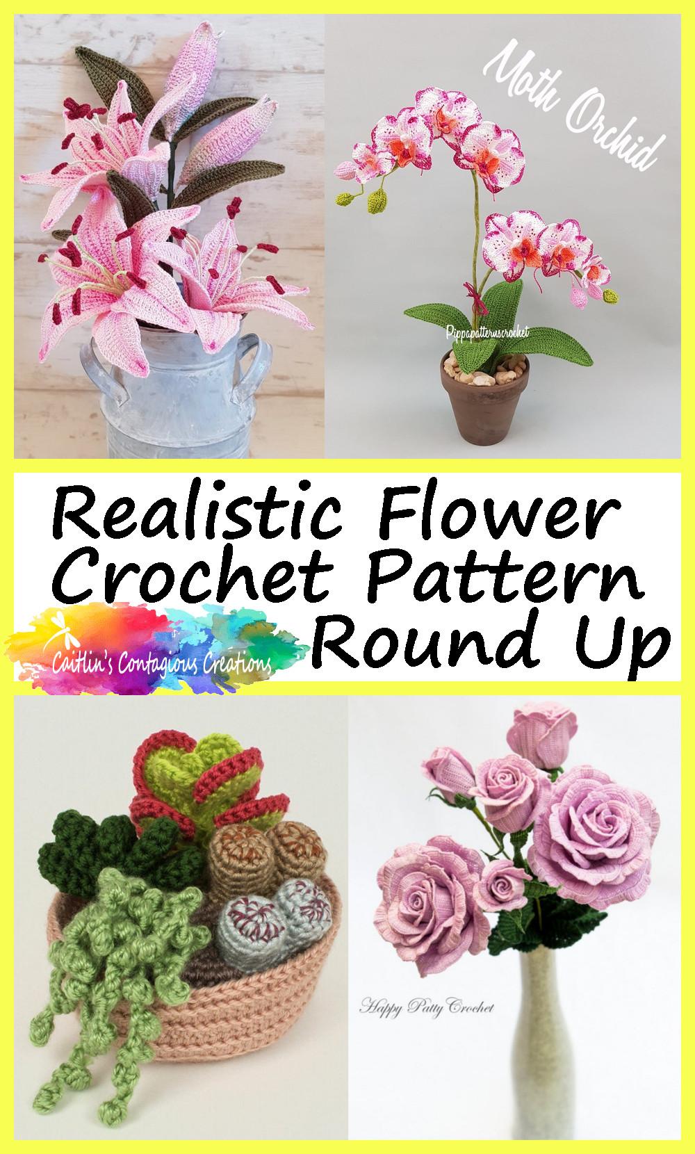Motif de crochet de fleur réaliste Round Up Pin Image 3 Lily Orchid Succulent Blue Rose Pictures